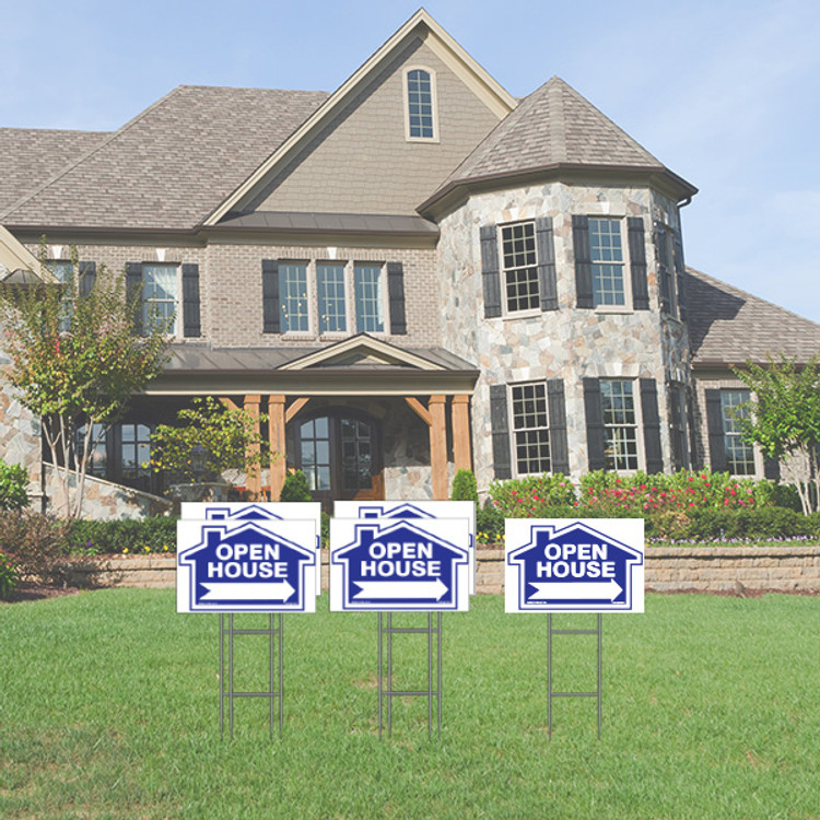 Pack of 5 - Open House - Directional Signs - 12T x 18W