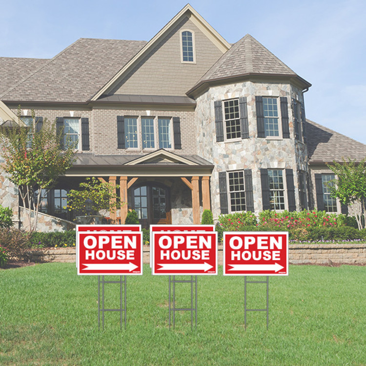 Pack of 5 - Open House - Directional Signs - Includes Stakes - 12T x 18W - Red
