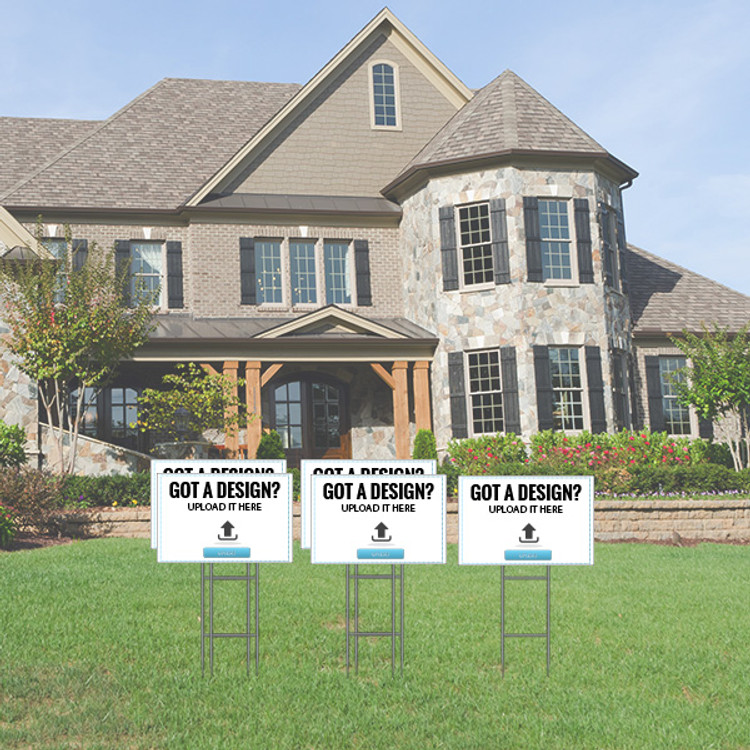 Pack of 5 - Upload Your Own Design - Directional Signs - Includes Stakes - 12T x 18W