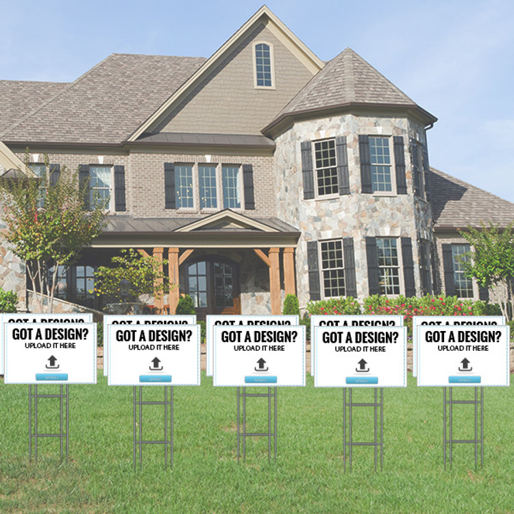 Pack of 10 - Upload Your Own Design - Directional Signs - Includes Stakes - 12T x 18W