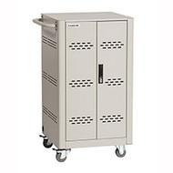 Black Box Basic Charging Cart - Steel Top, Fixed Shelves, Hinged Doors, (6) PDUs VLC36SK-WP