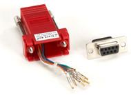 Black Box DB9 Colored Modular Adapter (Unassembled), Female to RJ-45, 8-Wire, Re FA4509F-RD