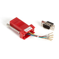 Black Box DB9 Colored Modular Adapter (Unassembled), Male to RJ-45, 8-Wire, Red FA4509M-RD