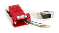 Black Box DB9 Colored Modular Adapter (Unassembled), Male to RJ-11, 6-Wire, Red FA780