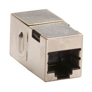 Black Box CAT5e Coupler, Straight-Pinned, Shielded, Silver, 10-Pack FM508-R2-10PAK