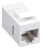 Black Box CAT5e Keystone Coupler, Straight-Pinned, Unshielded, White, Single-Pac FM590