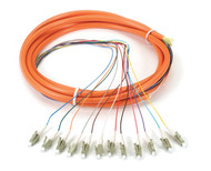 Black Box OM1 62.5-Micron Multimode Fiber Optic Pigtail, 12-Strand, LC, Orange, FOPT50M1-LC-12OR-3