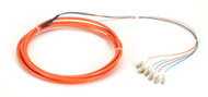 Black Box OM1 62.5-Micron Multimode Fiber Optic Pigtail, 6-Strand, LC, Orange, 3 FOPT50M1-LC-6OR-3