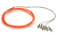 Black Box OM1 62.5-Micron Multimode Fiber Optic Pigtail, 6-Strand, ST, Orange, 3 FOPT50M1-ST-6OR-3