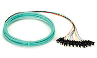 Black Box OM3 50-Micron Multimode Fiber Optic Pigtail, 12-Strand, SC, Aqua, 3-m FOPT50M3-SC-12AQ-3