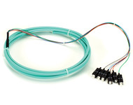 Black Box OM3 50-Micron Multimode Fiber Optic Pigtail, 6-Strand, SC, Aqua, 3-m ( FOPT50M3-SC-6AQ-3