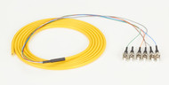 Black Box OS1 Single-Mode Fiber Optic Pigtail, 6-Strand, ST, Yellow, 3-m (9.8-ft FOPT50S1-ST-6YL-3