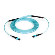 Black Box OM3 Fiber Optic Trunk Cable, MTP(R) MPO-Style, 12-Fiber, Plenum, Flip- FOTC30M3-MP-12AQ-50