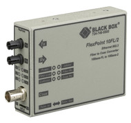 Black Box FlexPoint 10BASE-FL to BNC Media Converter, 10-Mbps Fiber to ThinNet, LMC211A-SM