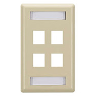 Black Box GigaStation Wallplate, 4-Port, Single-Gang, Electric Ivory WP472