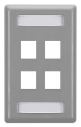 Black Box GigaStation Wallplate, 4-Port, Single-Gang, Gray WP473