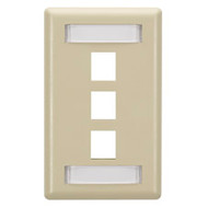 Black Box GigaStation Wallplate, 3-Port, Single-Gang, Electric Ivory WP466