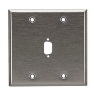 Black Box Stainless Steel Wallplate, DB9, Double-Width, 1-Punch WP072