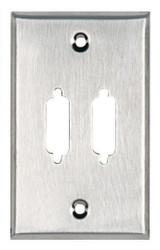 Black Box Stainless Steel Wallplate, DB15, Single-Width, 2-Punch WP081