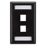 Black Box GigaStation Wallplate, 2-Port, Single-Gang, Black WP459