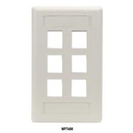 Black Box GigaStation2 Wallplate, 6-Port Single-Gang, Office White WPT480