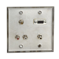 Black Box A/V Stainless Wallplate, Double-Gang, (1) VGA HD15 F, (1) 3.5-mm F, (3 WP820