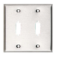Black Box Stainless Steel Wallplate, DB15, Double-Width, 2-Punch WP083