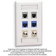 Black Box GigaStation2 Wallplate, 6-Port Single-Gang, White WPT482