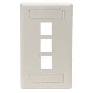 Black Box GigaStation Wallplate, 3-Port, Single-Gang, Office White WP468