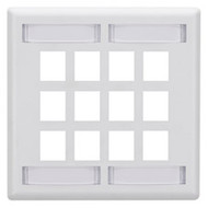 Black Box GigaStation Wallplate, 12-Port, Dual-Gang, White WP494