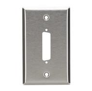 Black Box Stainless Steel Wallplate, DB25, Single-Width, 1-Punch WP020