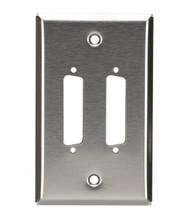 Black Box Stainless Steel Wallplate, DB25, Single-Width, 2-Punch WP040