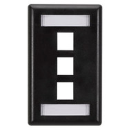 Black Box GigaStation Wallplate, 3-Port, Single-Gang, Black WP465