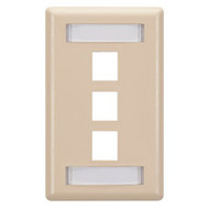 Black Box GigaStation Wallplate, 3-Port, Single-Gang, Telco Ivory WP469
