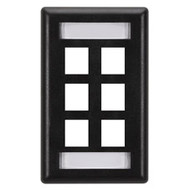 Black Box GigaStation Wallplate, 6-Port, Single-Gang, Black WP477