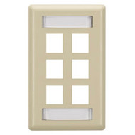 Black Box GigaStation Wallplate, 6-Port, Single-Gang, Electric Ivory WP478