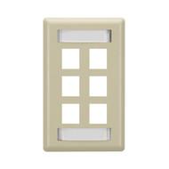 Black Box GigaStation Plus Wallplate, Single-Gang, 6-Port, Ivory WP478C