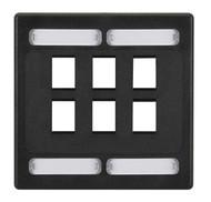 Black Box CAT6a F/UTP Faceplate, Dual-Gang, 6-Port, Black WPF477