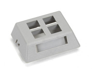 Black Box GigaBase2 Modular Furniture Faceplate, 4-Port, Gray WPT473-MF