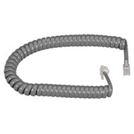 Black Box RJ-22 Modular Coiled Handset Cord, Dark Gray, 25-ft. (7.6-m) EJ302-0025