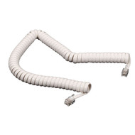 Black Box RJ-22 Modular Coiled Handset Cord - White, 25-ft. (7.6-m) EJ304-0025