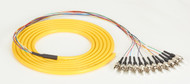 Black Box OS1 Single-Mode Fiber Optic Pigtail, 12-Strand, ST, Yellow, 3-m (9.8-f FOPT50S1-ST-12YL-3