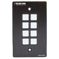 Black Box Wallplate Control Panel - RS-232, 8-Button AVS-CTRL8