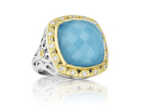 SILVER/18 KARAT YELLOW GOLD 0.27CT DIAMOND CQUARTZ OVER NEO TURQUOISE CUSHION CTR R