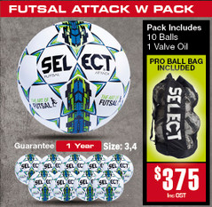 Attack White Futsal Ball Pack