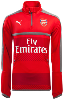 ARSENAL 1/4 ZIP TRAINING TOP L/S RED