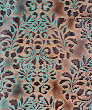 Verona Damask Turquoise/Brown