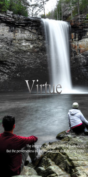 Church Banner featuring Young Adults with Virtue Theme