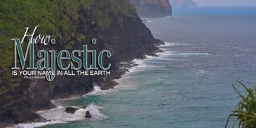 Church Banner featuring Napali Coastline on Kauai with Inspirational Theme