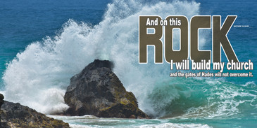 Church Banner featuring Massive Wave Slamming Rocks with Inspirational Theme